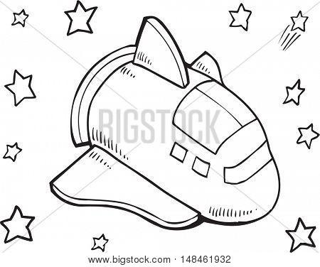 Doodle Space Shuttle Vector Illustration Art