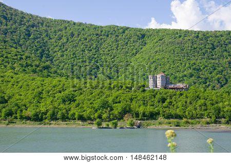 Kakheti Verdant hills under a bright spring sun the lake at the foot of