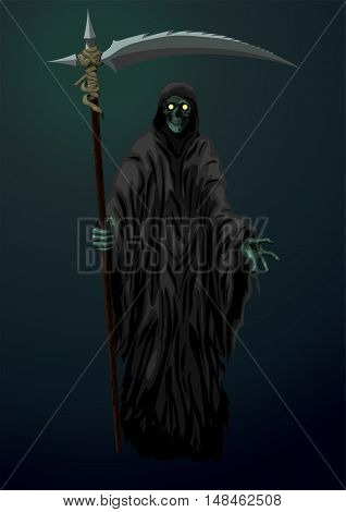 Death skeleton grim Reaper scytheman with scythe suitable for Halloween celebration logo sign. Vector closeup color vertical illustration on dark background.