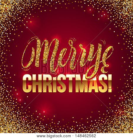 Christmas card Gold sparkles on Red background. Gold glitter and Calligraphy Background. Greeting Card X-MAS