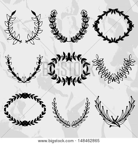 9 elegant laurel wreaths design elements. Can be used for wedding baby shower mothers day valentines day birthday cards invitations awards banners labels stickers