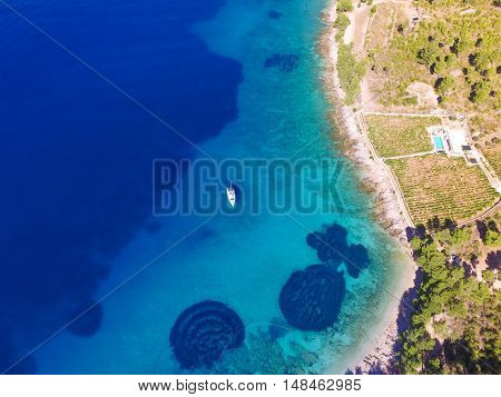Aerial view sailing boat off the coast of the island of Brac, near Bol, Croatia