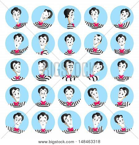 25 mime avatars each on its own layer