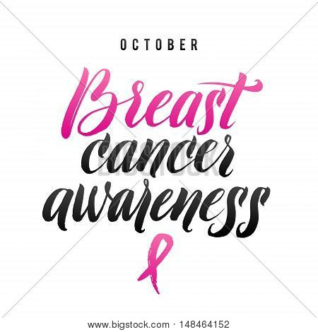 Vector Breast Cancer Awareness Calligraphy Poster Design. Stroke Pink Ribbon.
