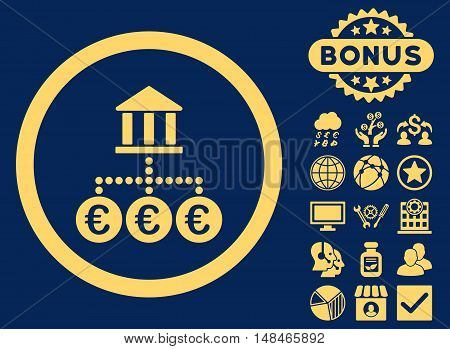 Euro Bank Transactions icon with bonus pictures. Vector illustration style is flat iconic symbols yellow color blue background.
