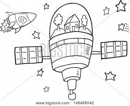 Doodle Space Station Vector Illustration Art