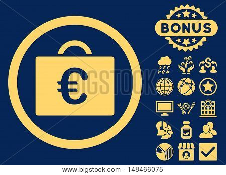 Euro Bookkeeping Case icon with bonus elements. Vector illustration style is flat iconic symbols yellow color blue background.