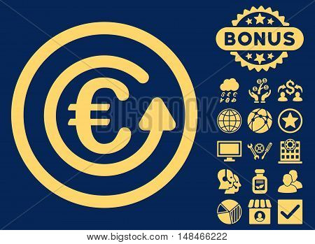 Euro Chargeback icon with bonus design elements. Vector illustration style is flat iconic symbols yellow color blue background.