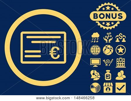 Euro Cheque icon with bonus pictogram. Vector illustration style is flat iconic symbols yellow color blue background.