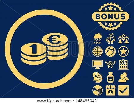 Euro Coin Columns icon with bonus design elements. Vector illustration style is flat iconic symbols yellow color blue background.