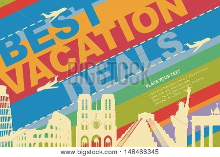 banner for a travel agency with architectural attractions from different countries