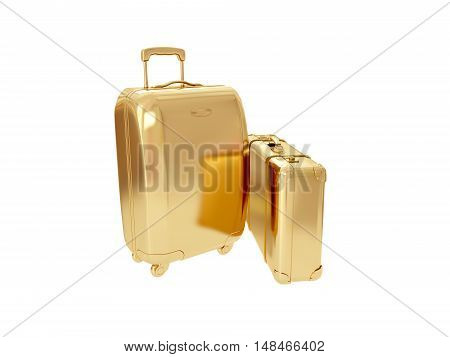 Beautiful golden suitcase representing money and business. 3D rendering