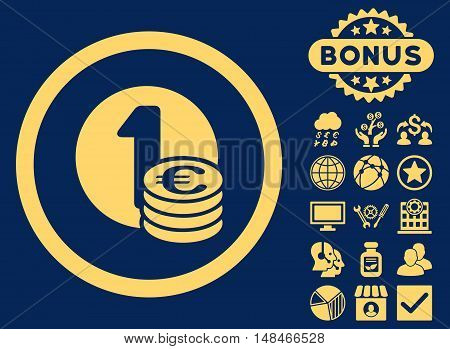 Euro Coins icon with bonus pictogram. Vector illustration style is flat iconic symbols yellow color blue background.