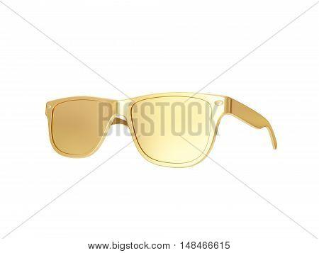 Golden sun glasses isolated over the white background. 3d rendering