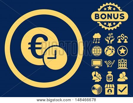 Euro Credit icon with bonus pictures. Vector illustration style is flat iconic symbols yellow color blue background.