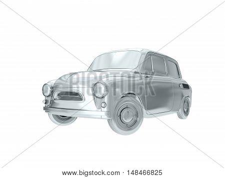 Silver car in retro styles. 3D rendering