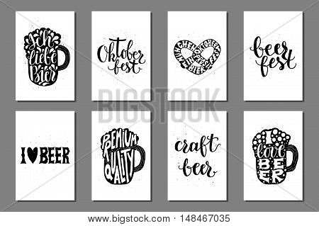 Oktoberfest beer labels. Typographic posters with hand drawn quotes. Lettering with grunge texture creative cards.