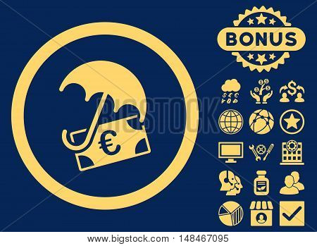 Euro Financial Umbrella icon with bonus pictogram. Vector illustration style is flat iconic symbols yellow color blue background.