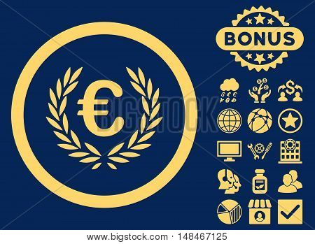 Euro Glory icon with bonus elements. Vector illustration style is flat iconic symbols yellow color blue background.