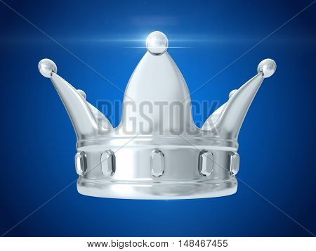 A king's silver crown on a blue background. 3D rendering