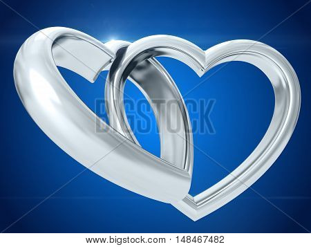 Silver heart shaped rings attached to each other. 3D rendering