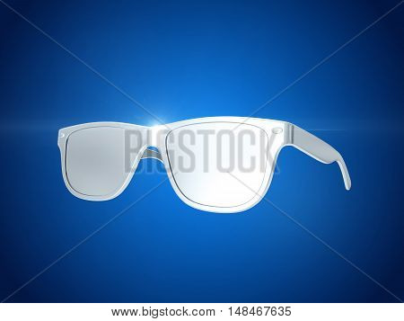 Silver sun glasses isolated over the blue background. 3d rendering
