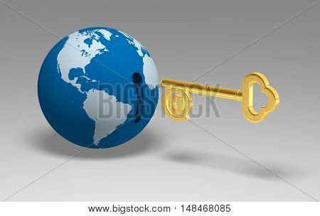 3D Globe Key gold world three-dimensional security