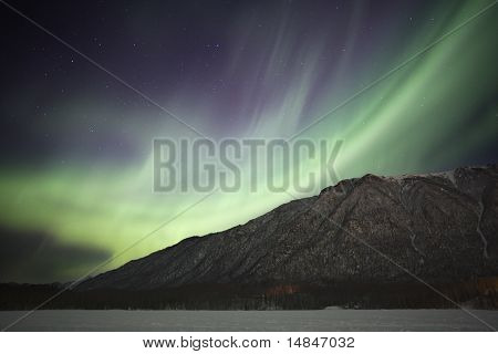 Northern Lights Over Mirror Lake Near Anchorage Ak