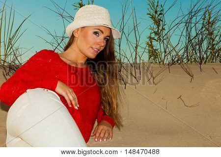 Portrait Of Gorgeous Fashionable Woman Outdoor.