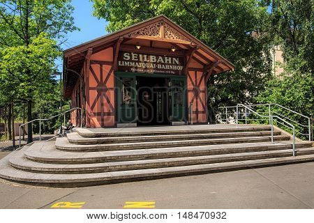 Zurich, Switzerland - 3 June, 2015: upper station of the Polybahn funicular. The Polybahn is a funicular railway connecting Central square with the terrace by the main building of the Swiss Federal Institute of Technology in Zurich.