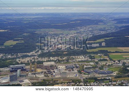Aerial View Of The Kirchberg City