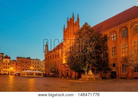 Torun, Poland: sunrise in old town city hall