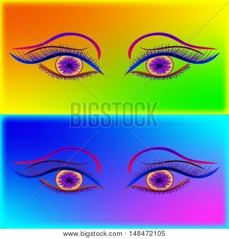 Mystic feminine look. Set of yellow and blue eyes on a rainbow neon background.