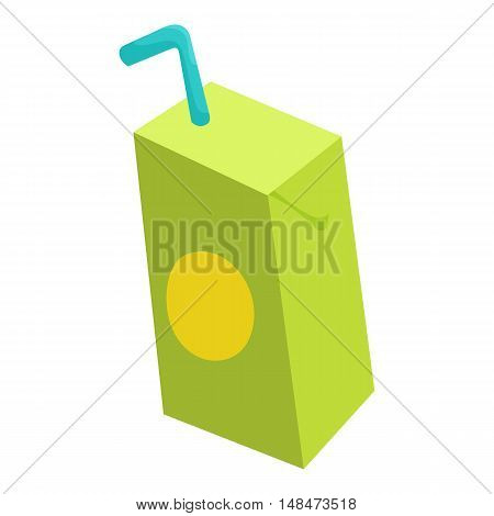 Pack of juice with drinking straw icon in cartoon style isolated on white background vector illustration