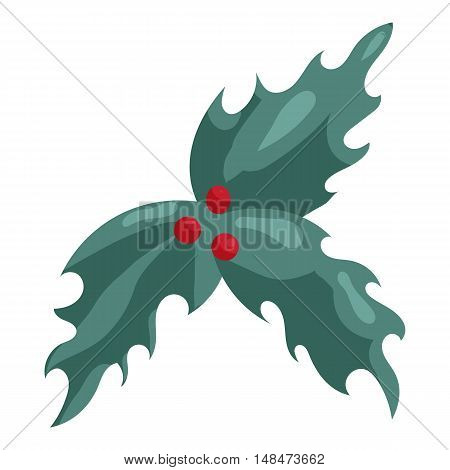 Holly berry Christmas symbol icon in cartoon style isolated on white background vector illustration