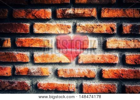 Heart On The Old Broken Brick Wall
