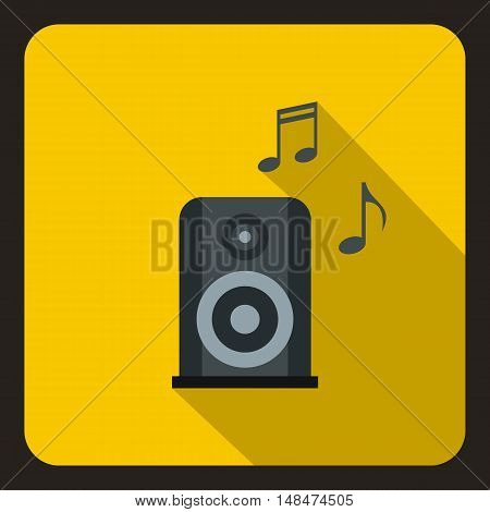 Music speaker and notes icon in flat style on a yellow background vector illustration