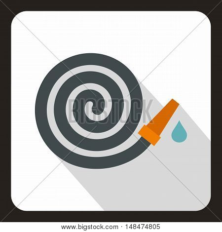 Rolled up garden hose icon in flat style on a white background vector illustration