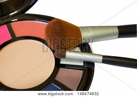 Palette For Make-up And Brushes Close-up