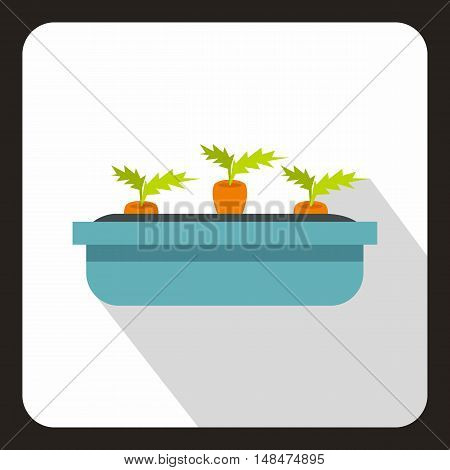 Carrot growing in blue box icon in flat style on a white background vector illustration