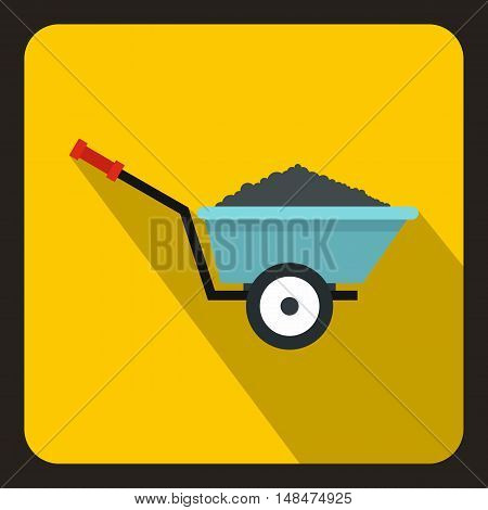Wheelbarrow with ground icon in flat style on a yellow background vector illustration