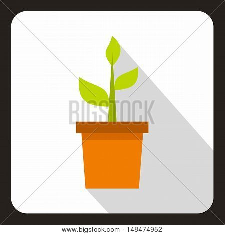 Green plant in a pot icon in flat style on a white background vector illustration