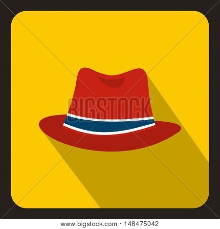 Red hat icon in flat style on a yellow background vector illustration