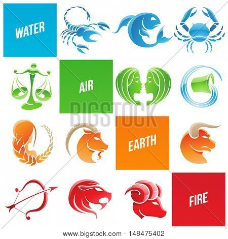 Illustration of Colorful Zodiac Star Signs