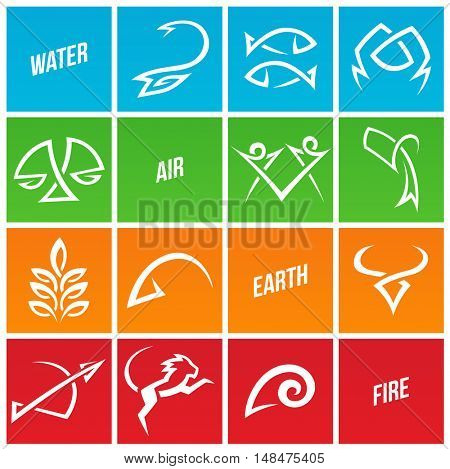 Illustration of Simplistic Zodiac Star Signs
