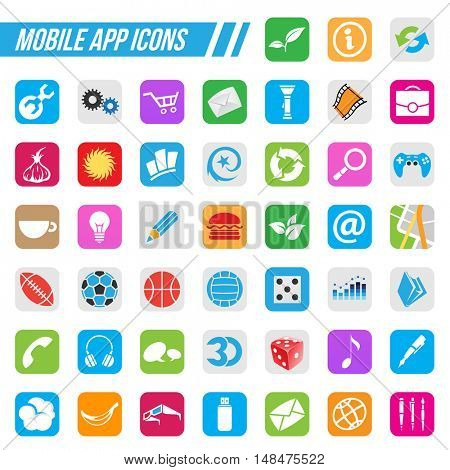 Illustration Mobile App Icons, isolated on a white background
