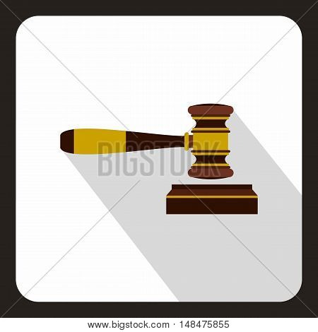 Judge gavel icon in flat style on a white background vector illustration