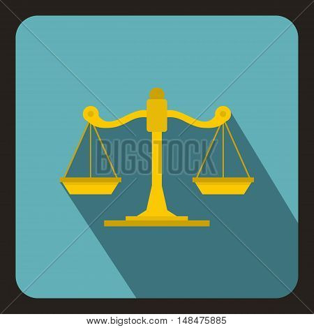 Scales of justice icon in flat style on a baby blue background vector illustration