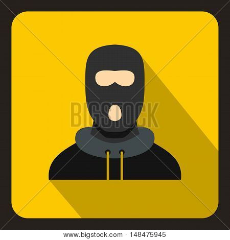 Man in balaclava icon in flat style on a yellow background vector illustration