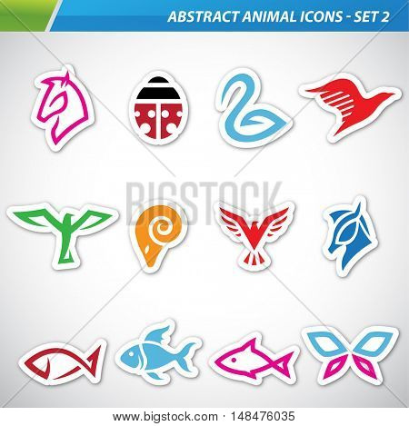 illustration of colorful abstract animal icons